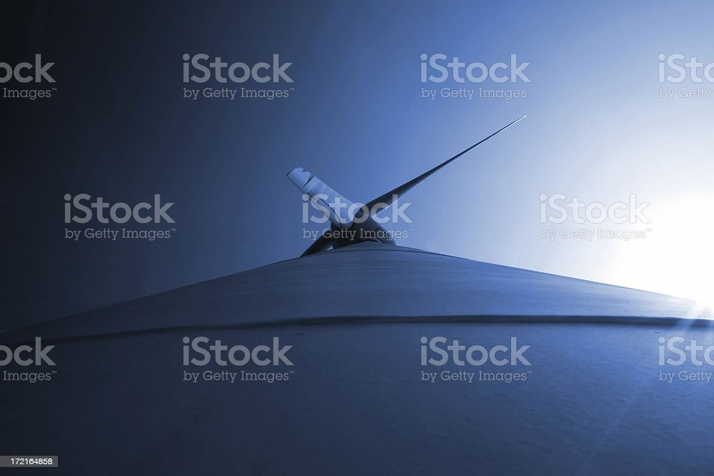 Looking up wind turbine royalty-free stock photo