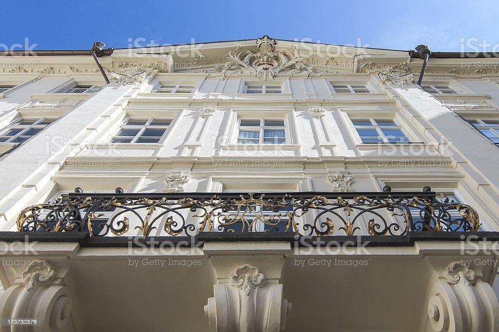 Looking upward along palace wall. royalty-free stock photo