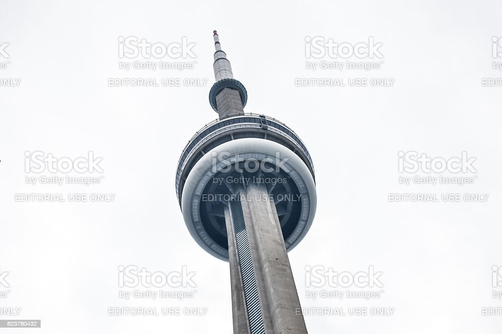 Looking upwards at the Canadian National (CN) Tower stock photo