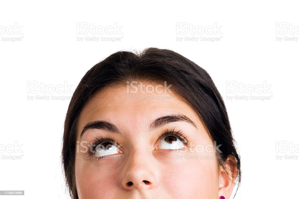 Looking Up—Woman's Face with Eyes Gazing Upward, on White stock photo