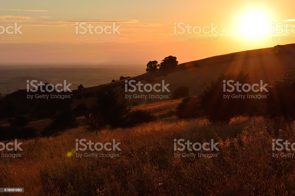 Looking west over the Mendip Hills as the sun sets stock photo