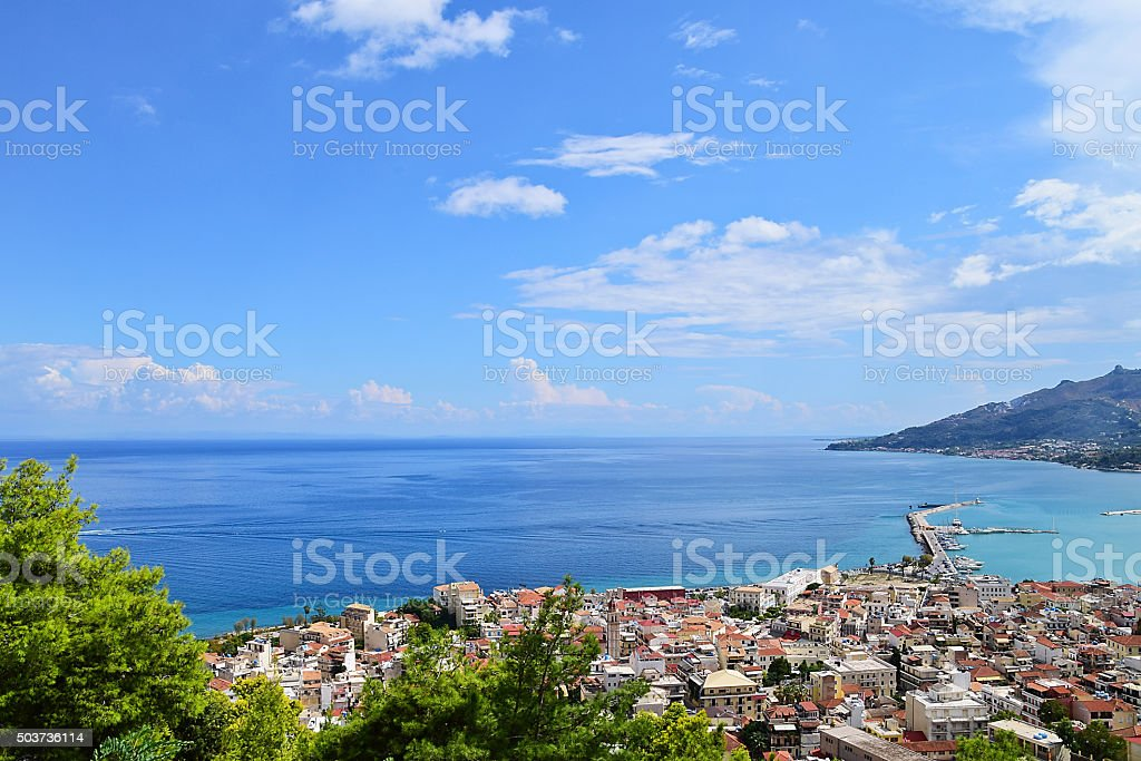 Lookout from Bohali in Zakynthos in Summer,Greece stock photo