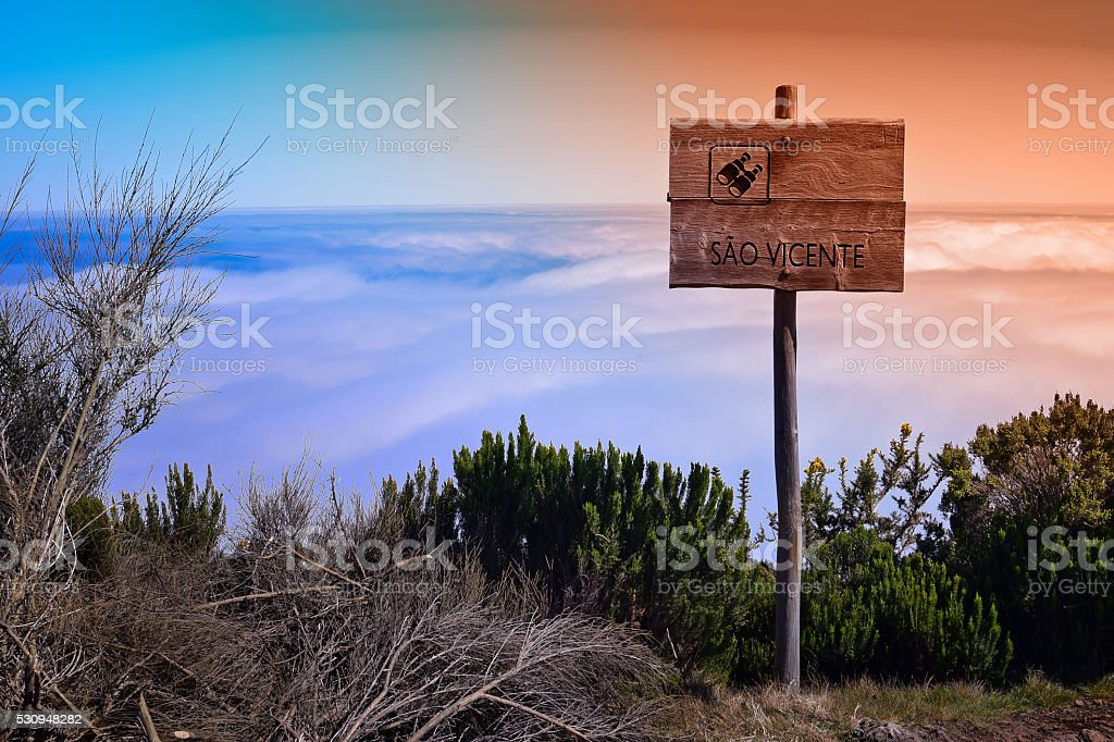 Lookout from Pico Ruivo do Paul, Madeira, Portugal stock photo