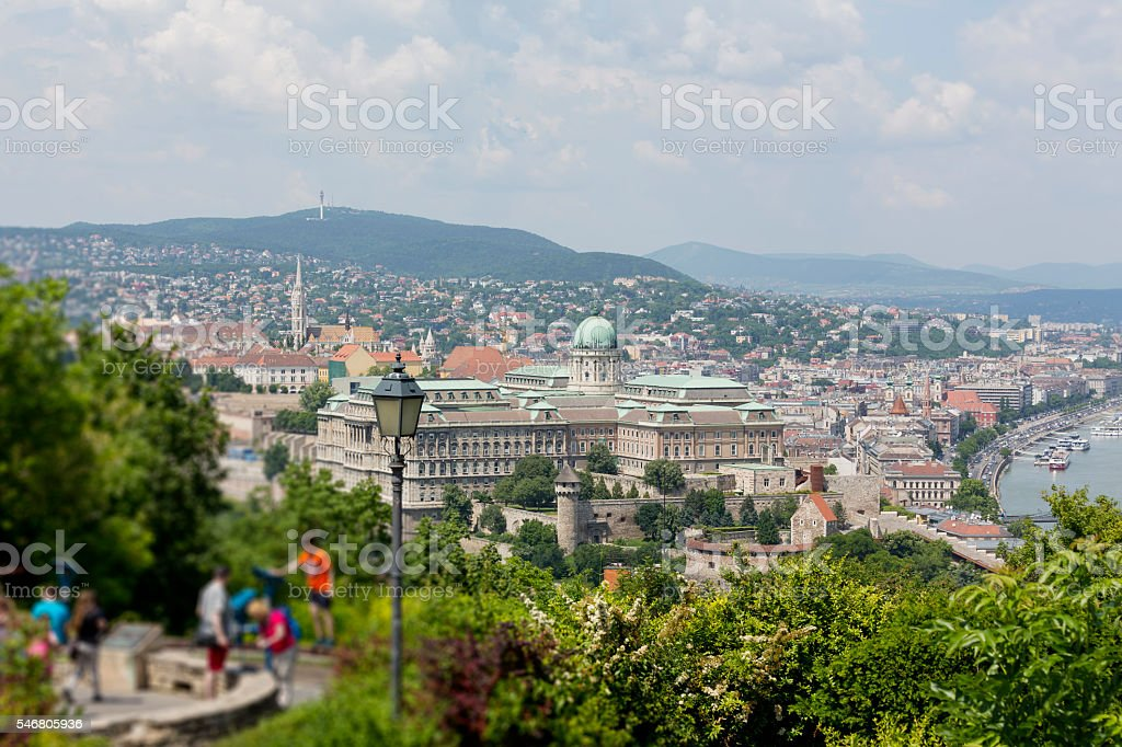 Look-out point at Citadella in Budapest at day stock photo