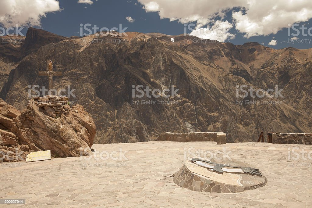 Lookout point for watching condors in Colca, Arequipa, Peru stock photo