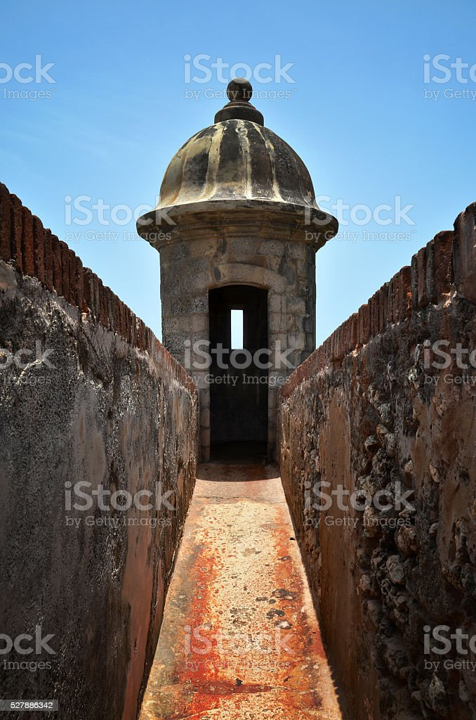 Lookout post at El Morro in San Juan stock photo