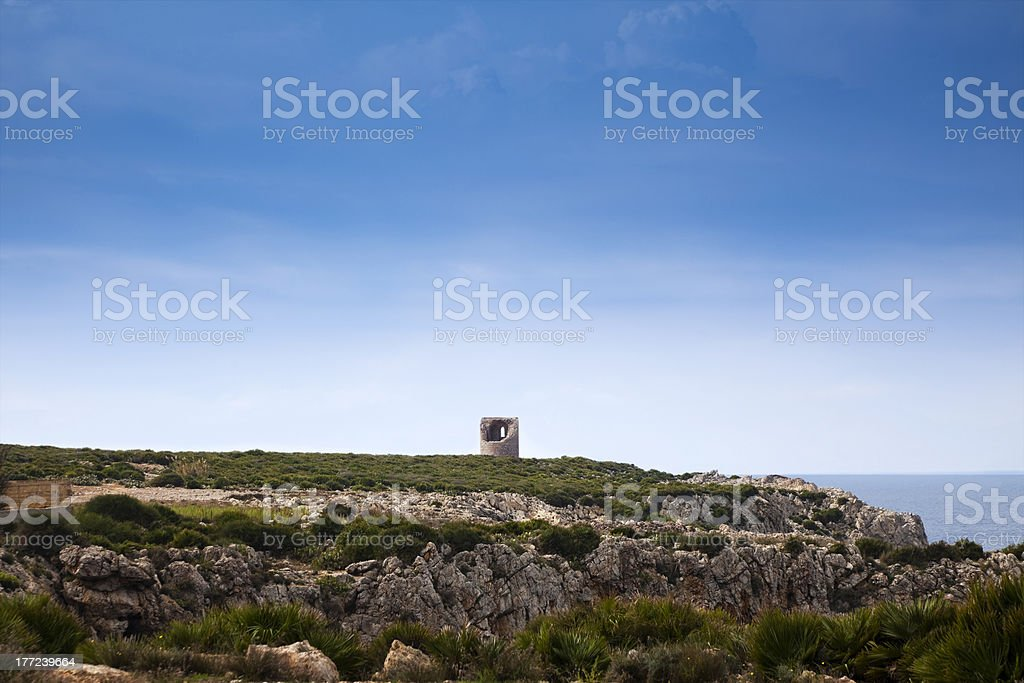 Lookout Tower at Capo Rama stock photo