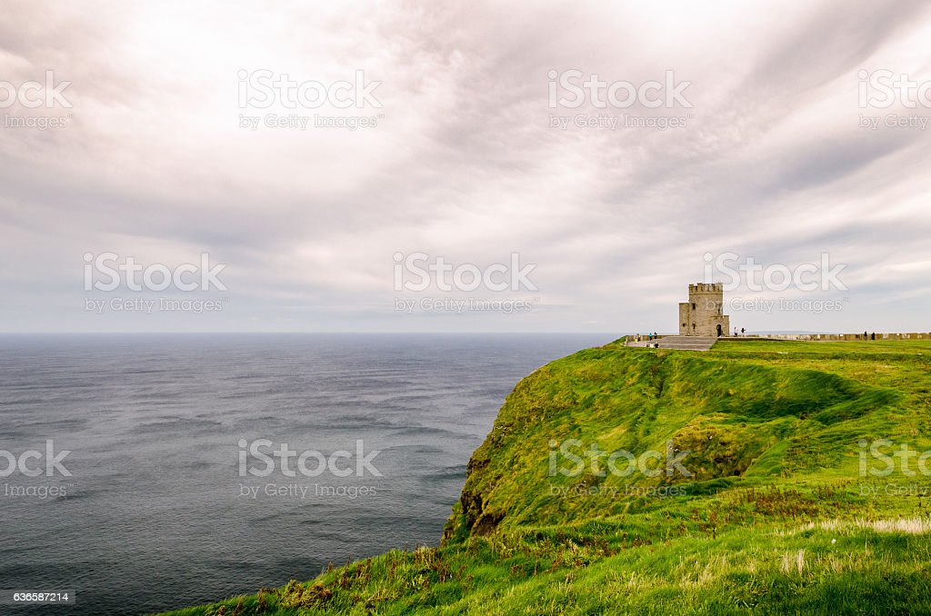 Lookout Tower at Ireland's Cliff of Moher stock photo