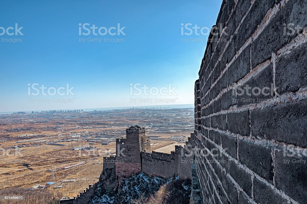 Lookout tower on Great China wall stock photo