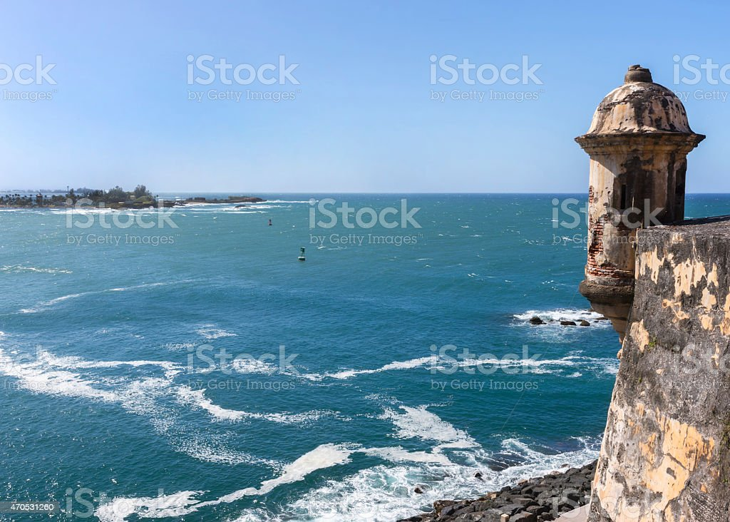 Lookout tower watching the entrance to the bay. stock photo