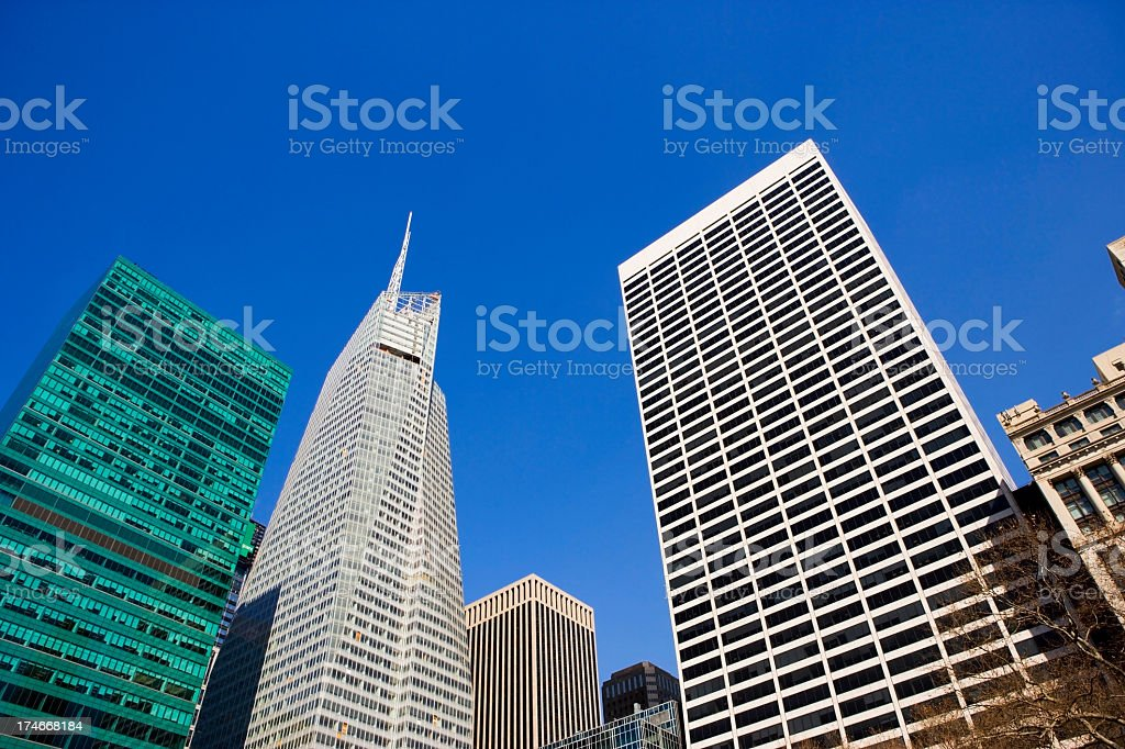 Look-up of magnificent skyscrapers at Bryant Park stock photo