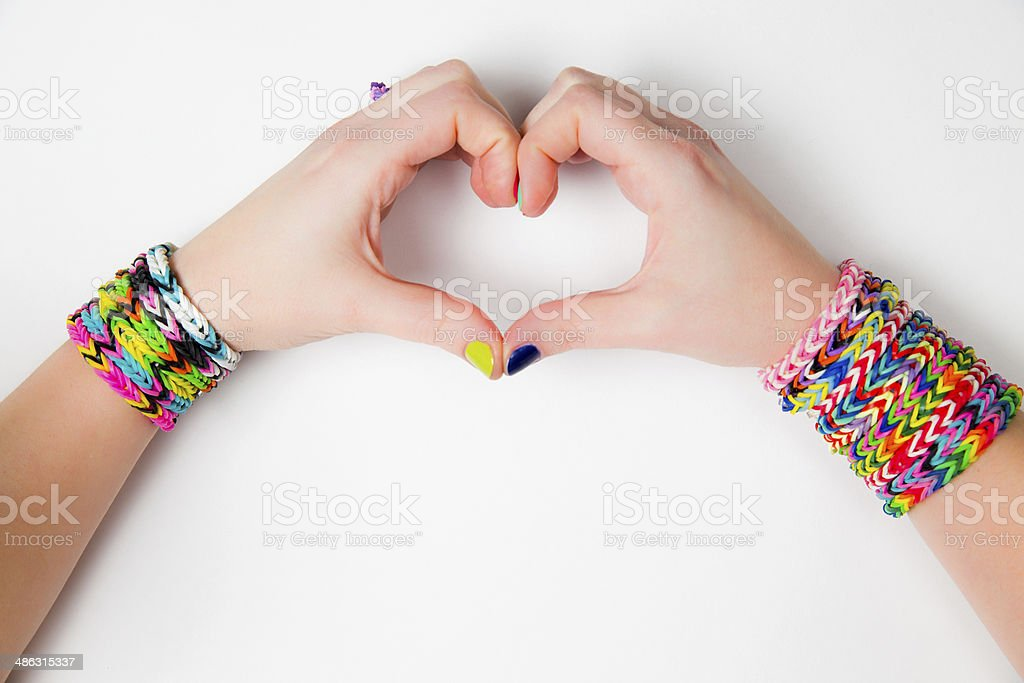 Loom bracelets. Young fashion concept stock photo