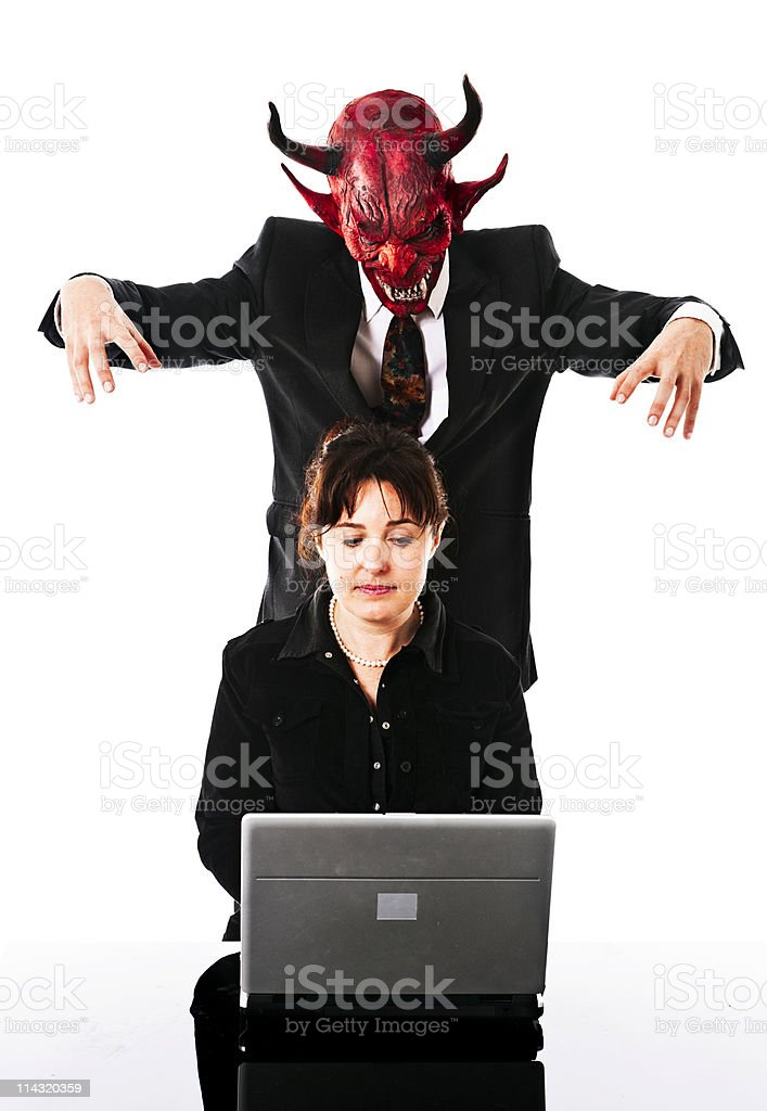 Looming business demon royalty-free stock photo