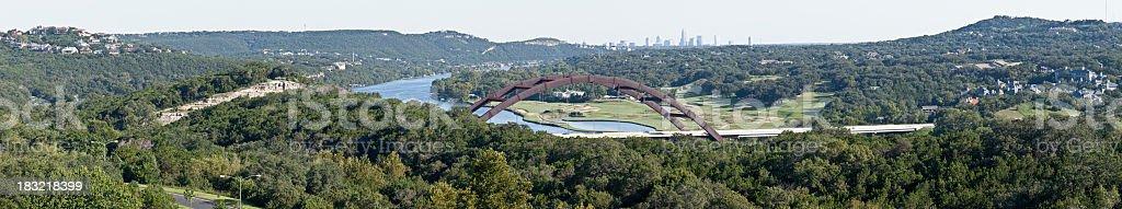 Loop 360 Bridge West of Austin - Panoramic stock photo