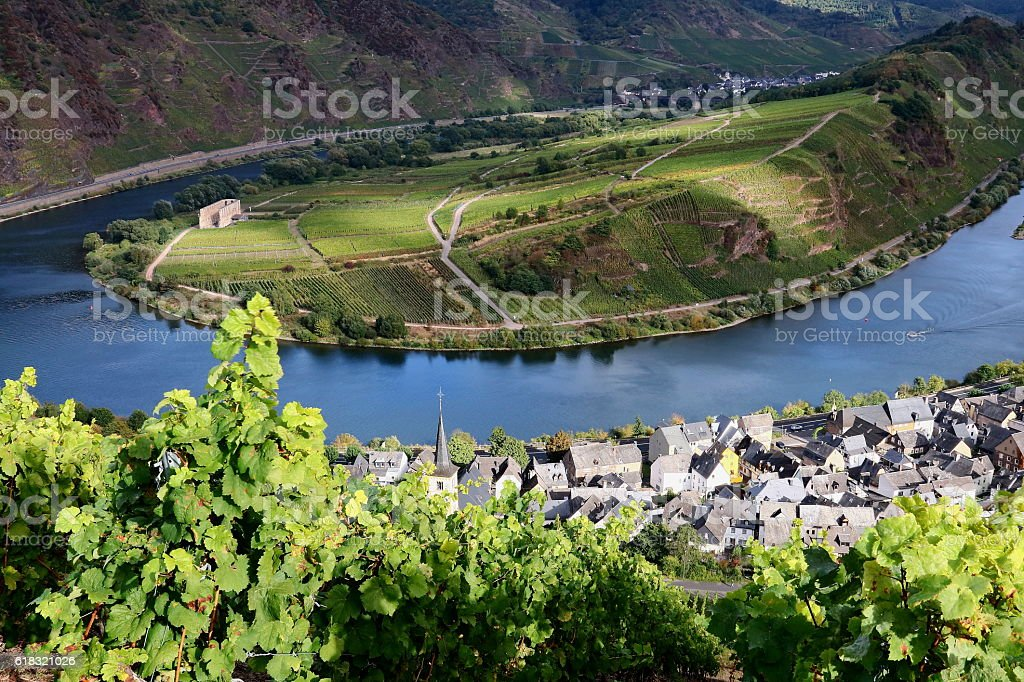 loop of river Mosel in Germany stock photo