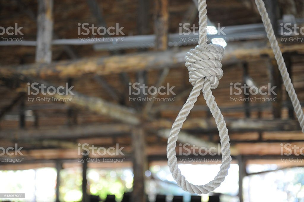 loop of rope hanging on a wooden background stock photo