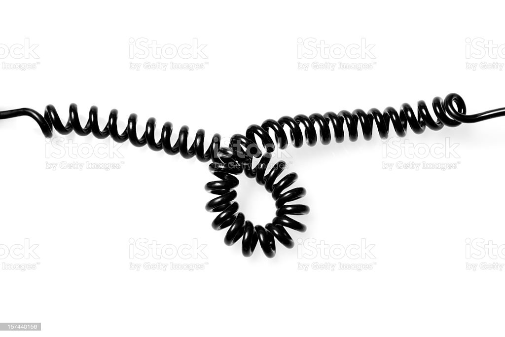 Looped telephone wire stock photo