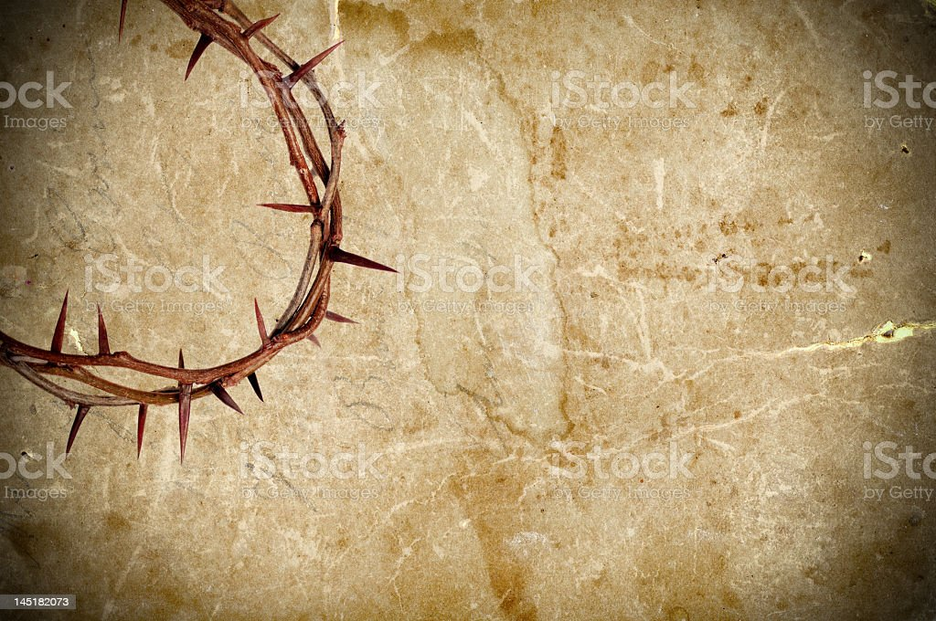 A looped vine crown of thorns on textured background stock photo