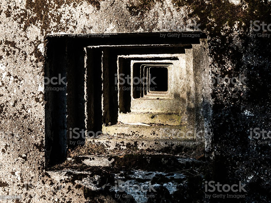 Loophole of old military bunker stock photo