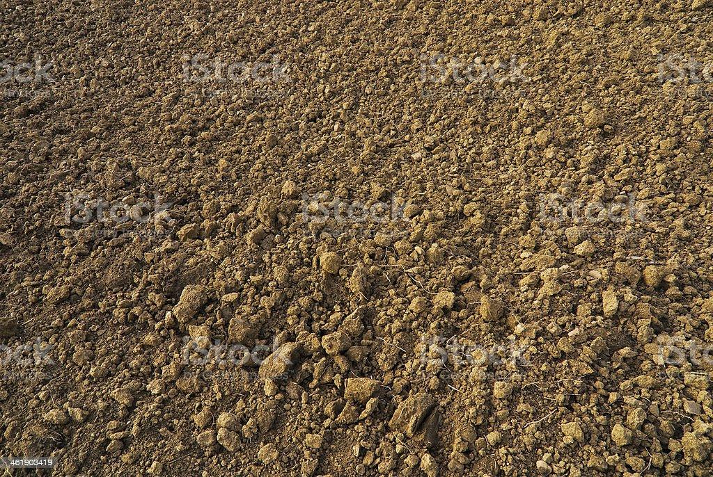 loose earth on the farmland stock photo