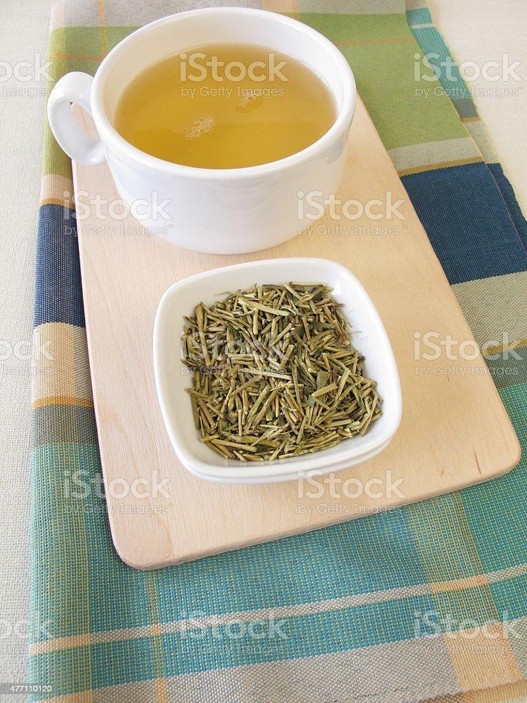 Loose kukicha green tea and cup of tea stock photo