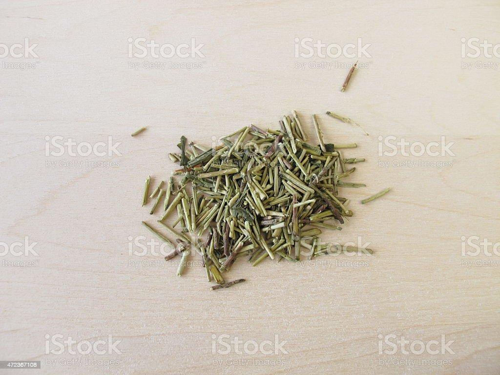 Loose kukicha green tea stock photo