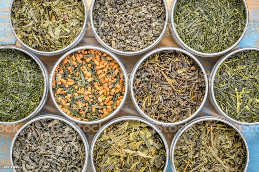 loose leaf  green tea collection stock photo