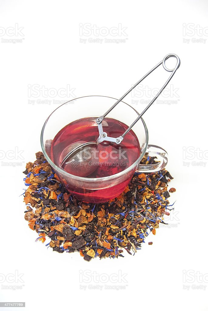 Loose Leaf Tea in glass tea cup with Infuser royalty-free stock photo