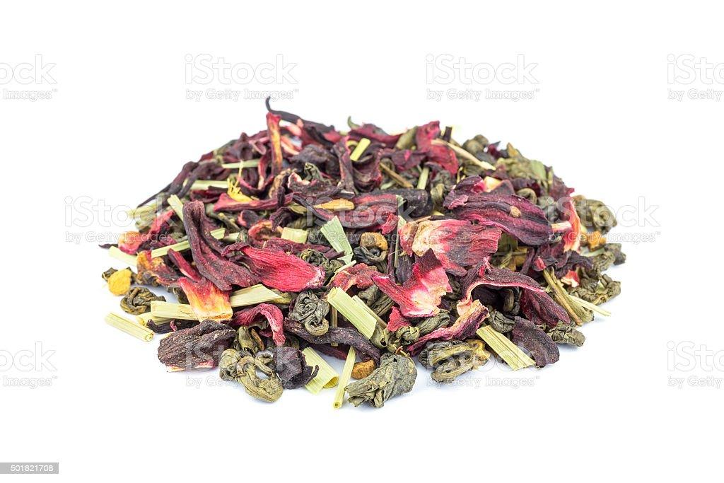 Loose mixed biological Green Magic tea on white stock photo
