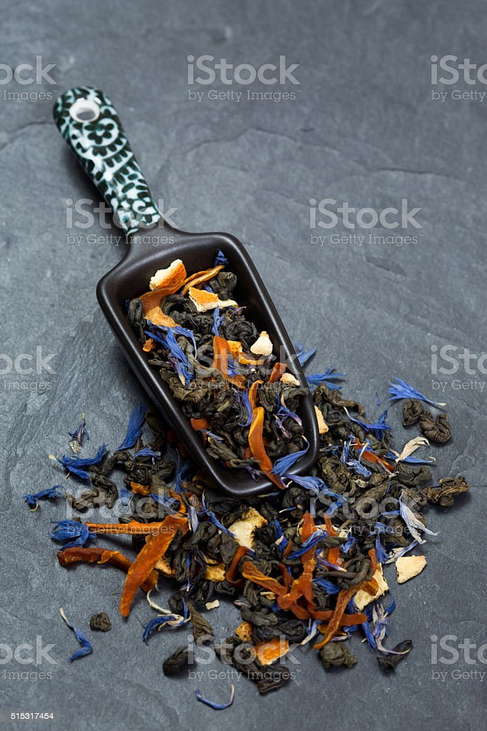 Loose tea leaves stock photo