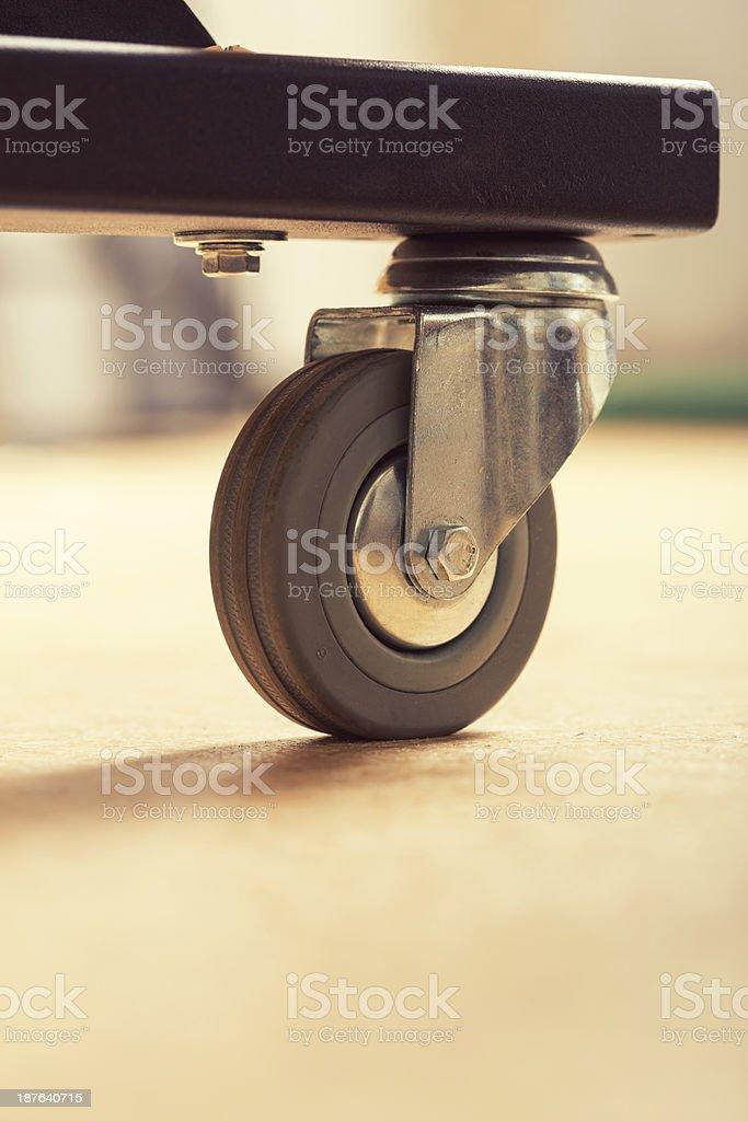 Loose wheel of industrial cart stock photo