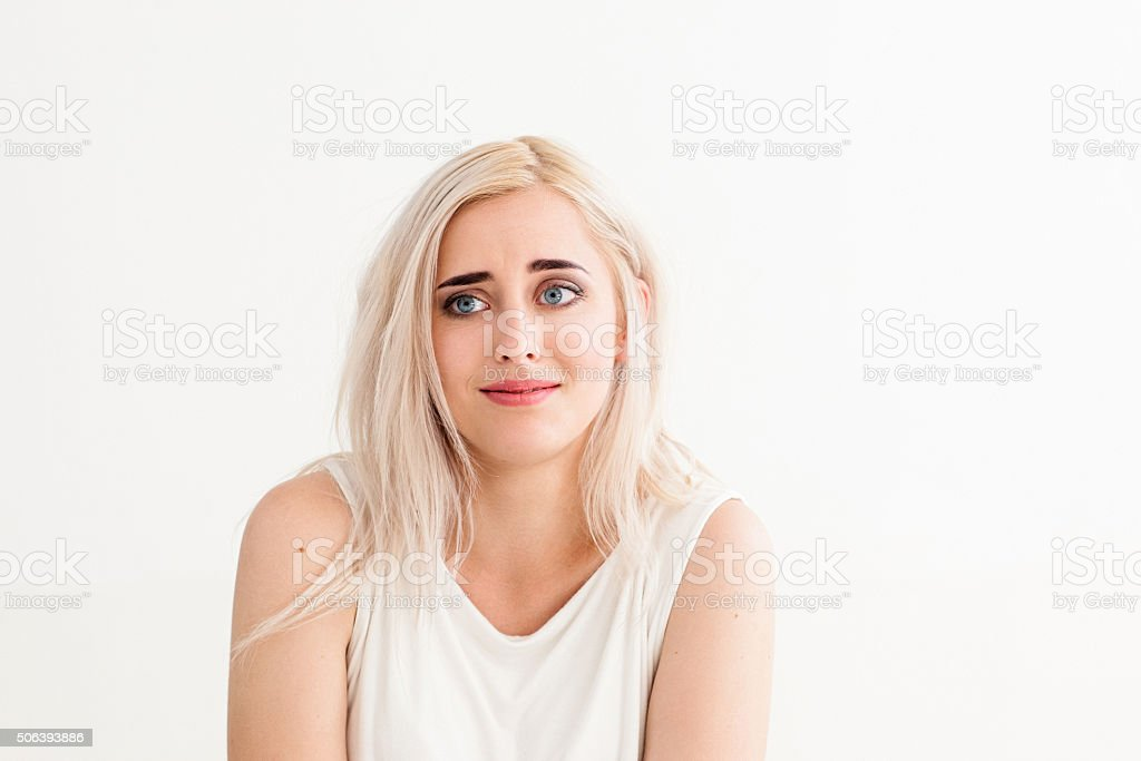 looser with stupid expression on her face stock photo
