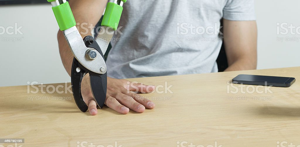 Loosing a finger stock photo