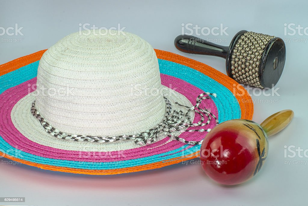 loppy beach hats percussion  in various colors on white backgrou stock photo