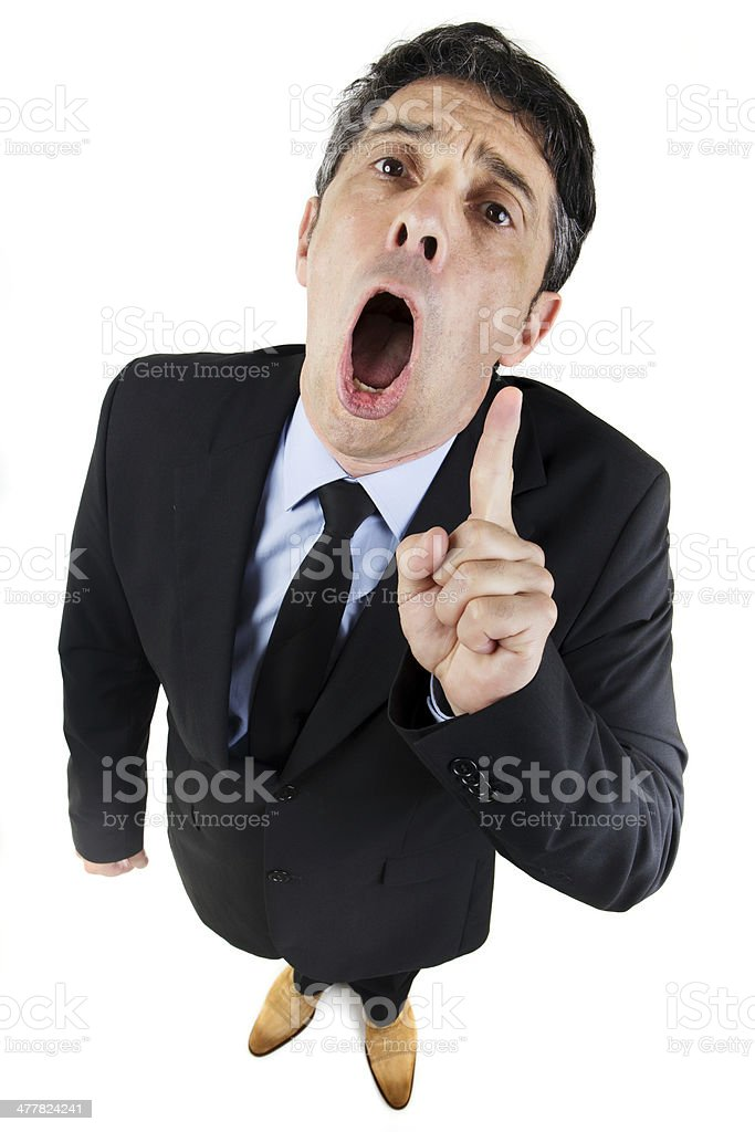 Loquacious long-winded businessman stock photo