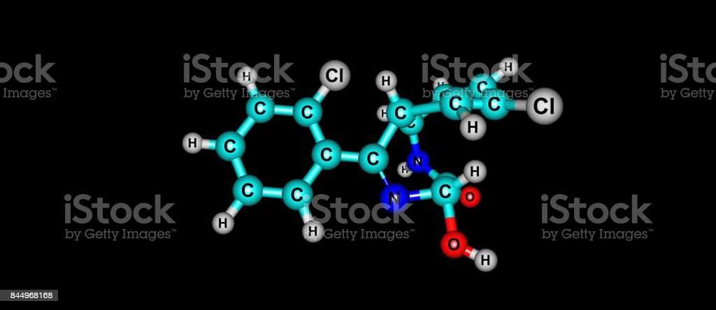 Lorazepam molecular structure isolated on black stock photo