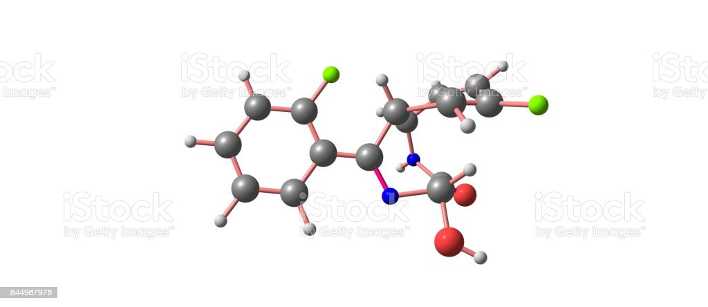 Lorazepam molecular structure isolated on white stock photo