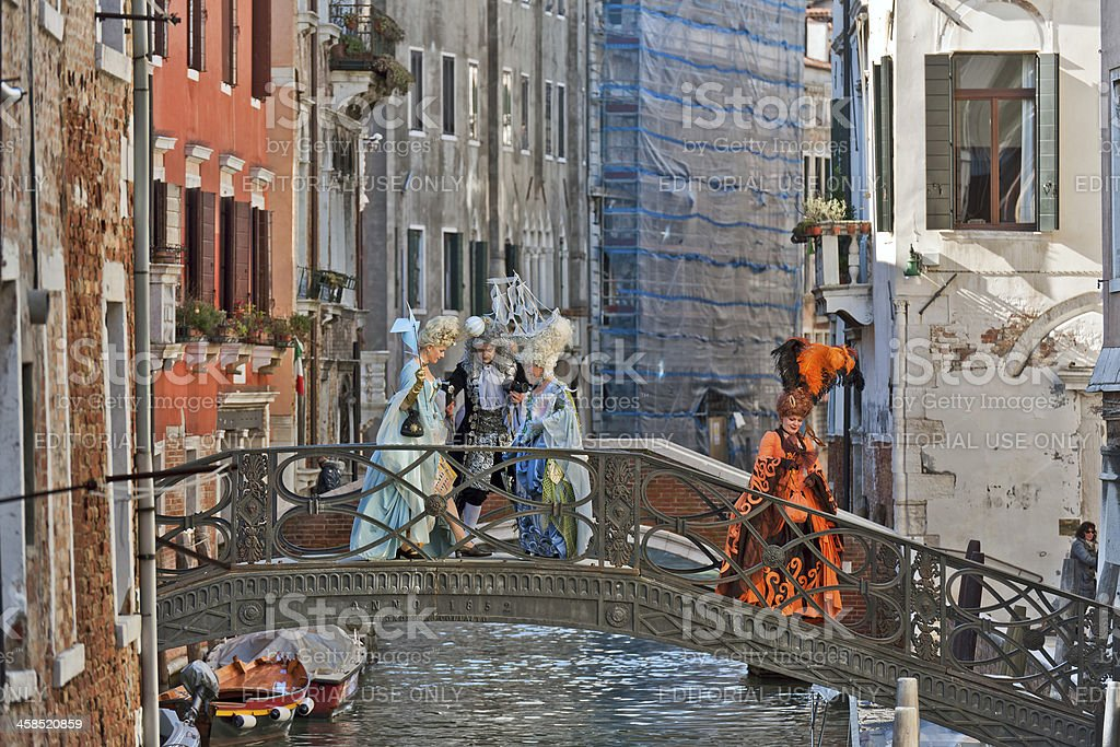 Lord and Ladies on Bridge 2013 Carnival Venice Italy royalty-free stock photo