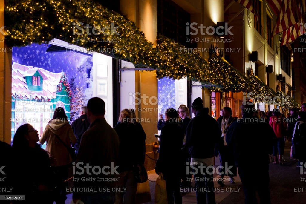Lord and Taylor Holiday Windows Manhattan Evening royalty-free stock photo