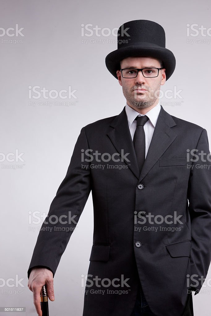 lord black nerd with a top hat stock photo