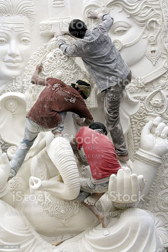 Lord Ganesha idol getting ready for the festival royalty-free stock photo