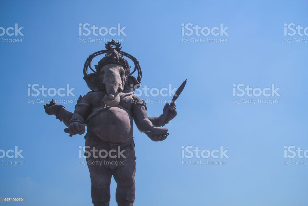 Lord Ganesha on blue sky background in Thailand stock photo