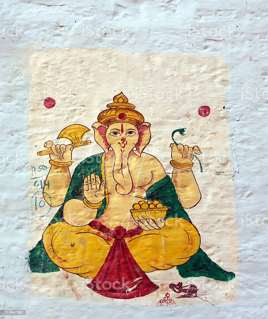 Lord Ganesha painted on a white wall stock photo