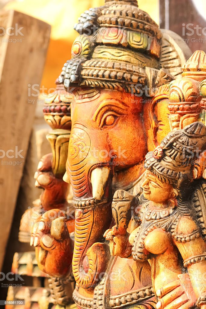 Lord Ganesha statue with goddess Ridhi Siddhi, pray concept stock photo