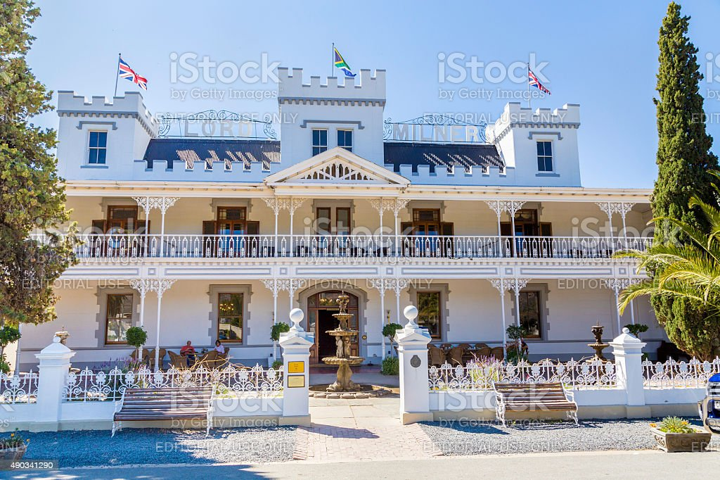 Lord Milner Hotel monument in Matjiesfontein stock photo