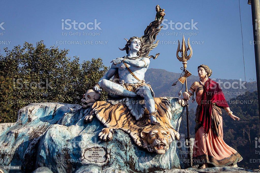 Lord Shiva and goddess Parvati statue's in Rishikesh. stock photo