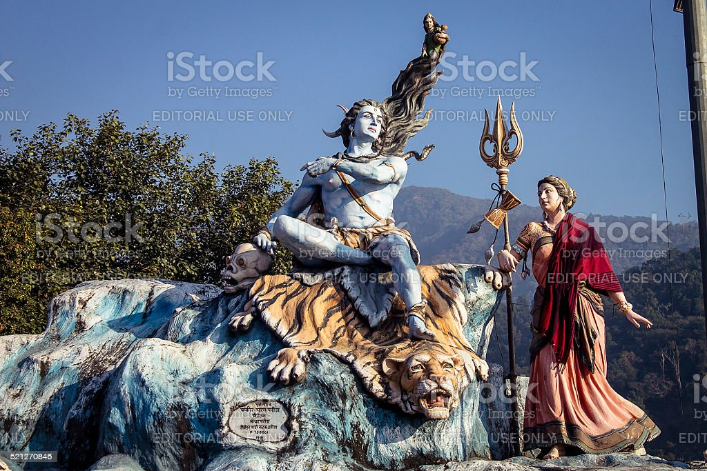 Lord Shiva and goddess Parvati statue's in Rishikesh. stock photo