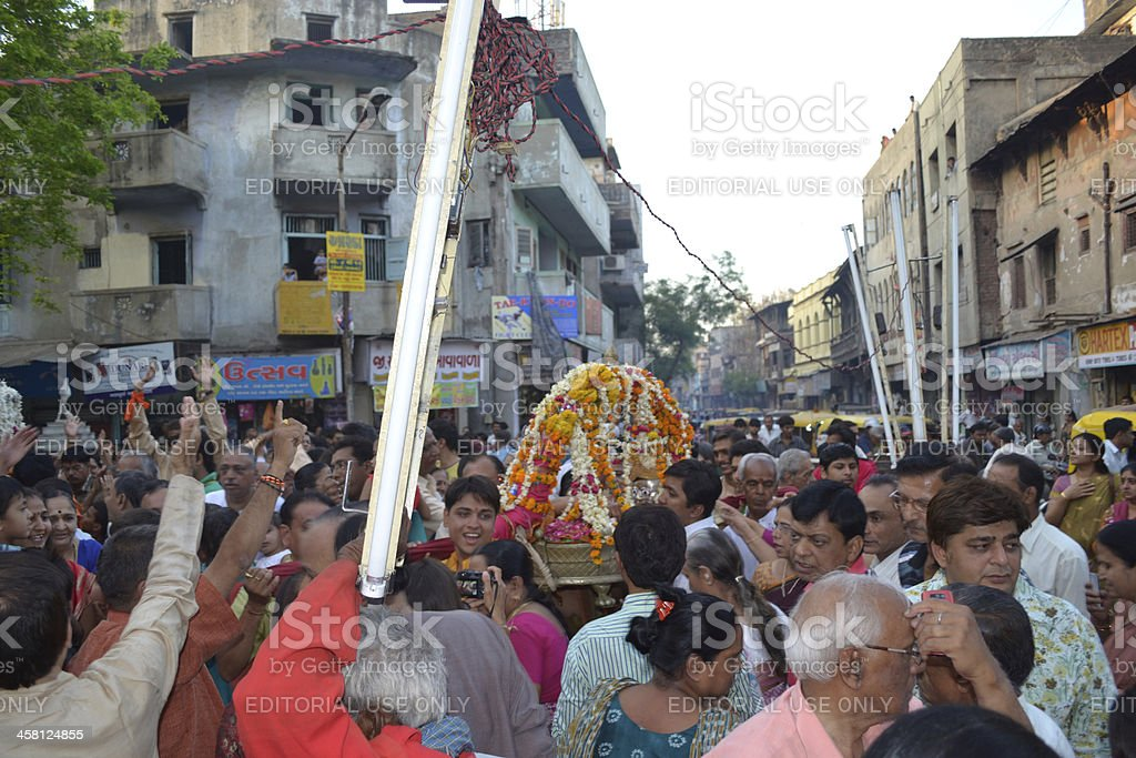 Lord Shiva Hatkeshwar on journey out into the city stock photo