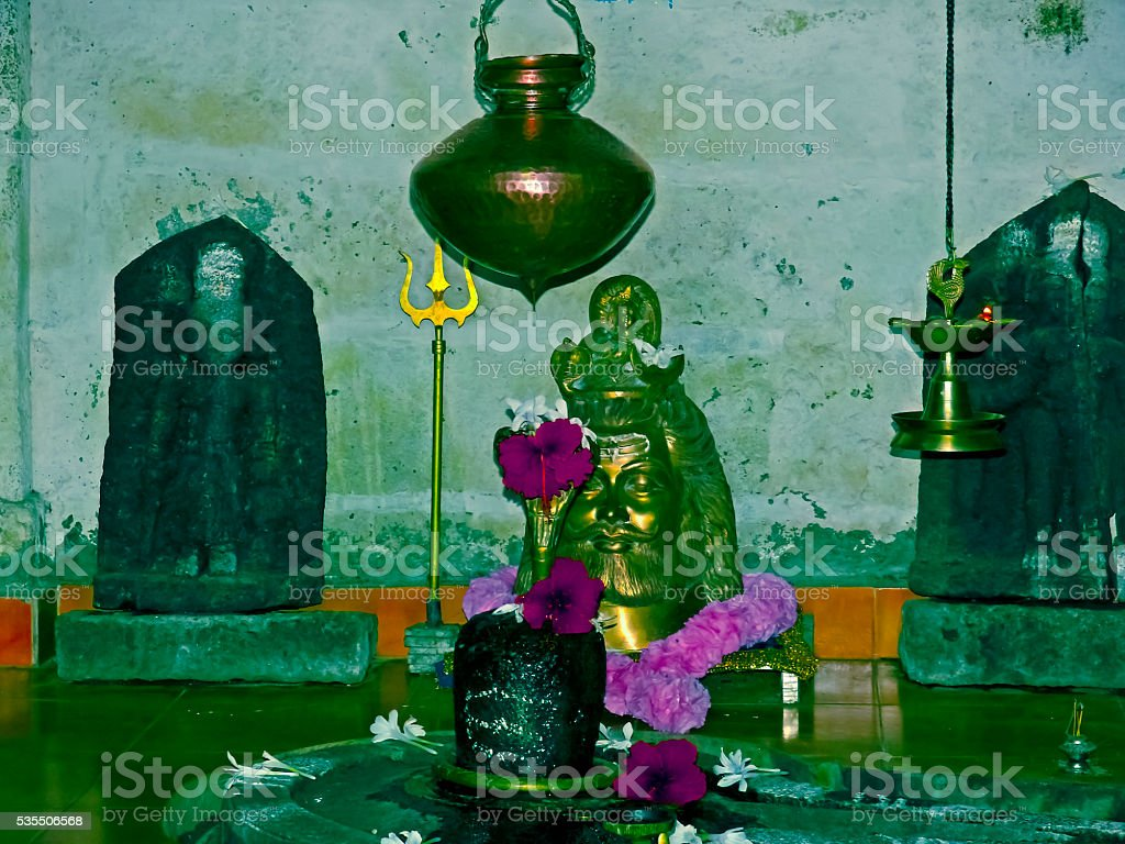 Lord Shiva temple at Sinhangad Fort stock photo
