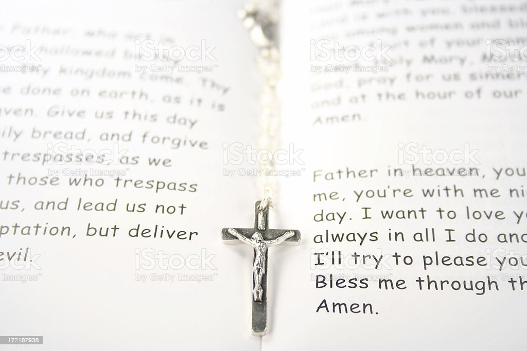lords prayer bible and rosary beads royalty-free stock photo